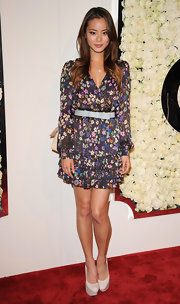 Jamie paired her floral dress with tousled ombre locks.