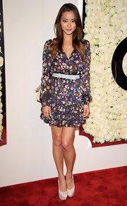 Jamie Chung accessorized her floral frock with white platform pumps.