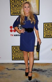 Adrienne Maloof looked downright elegant in a blue cocktail dress with shoulder cutouts.