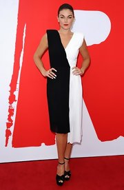 Serinda Swan rocked a black-and-white number that featured an asymmetrical hem for a unique two-dress look.