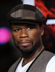 50 Cent made an appearance at the 'Red' premiere in Hollywood sporting a wool newsboy cap.