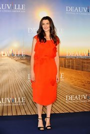 Rachel Weisz was pretty in a red ruffled frock at 'The Bourne Legacy' photocall.