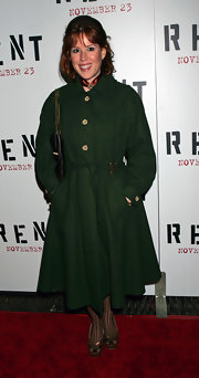 Molly Ringwald went for a stylish retro look with a green wool coat.