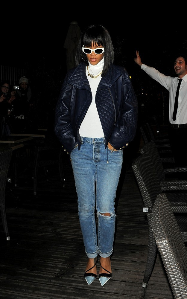 Rihanna leaves dinner at Farnesina restaurant in Paris.