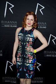 Katy B showed off her curves with a figure-flattering, multi-colored cocktail dress while attending the after party for Rihanna's new clothing line.