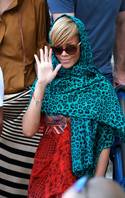 Rihanna showed off her printed scarf while traveling to Jerusalem.