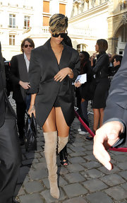 The light brown suede in these over-the-knee boots draws out the color streaks in Rihanna's hair.