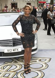Mary J. Blige was definitely dressed for the 'Rock of Ages' premiere in this leather and mesh cocktail dress.