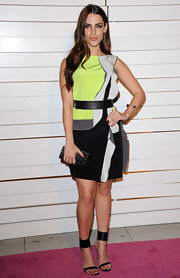 Jessica Lowndes took to the Rodeo Drive Walk of Style Award in a neon geometric-print frock paired with black strappy sandals.