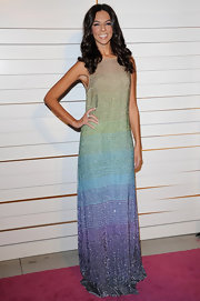 Terri Seymore wore a sparkling rainbow ombre evening dress for the Rodeo Drive Walk of Style Award.