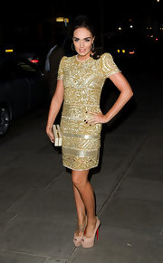 Tamara Ecclestone wore this gold beaded number to the Rodial Beautiful Awards.