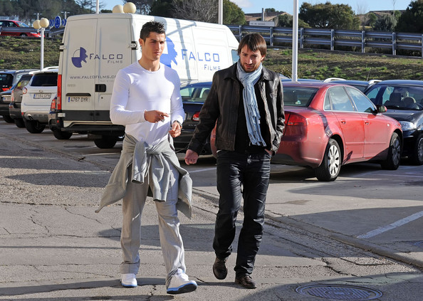 Soccer star Cristiano Ronaldo relaxes in a pair of casual sneakers.