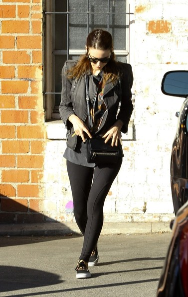 Rooney Mara sported a black denim moto jacket while out and about in LA.