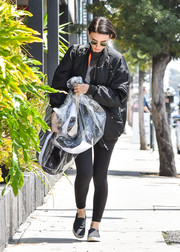 Rooney Mara stepped out in LA wearing an oversized black bomber jacket.