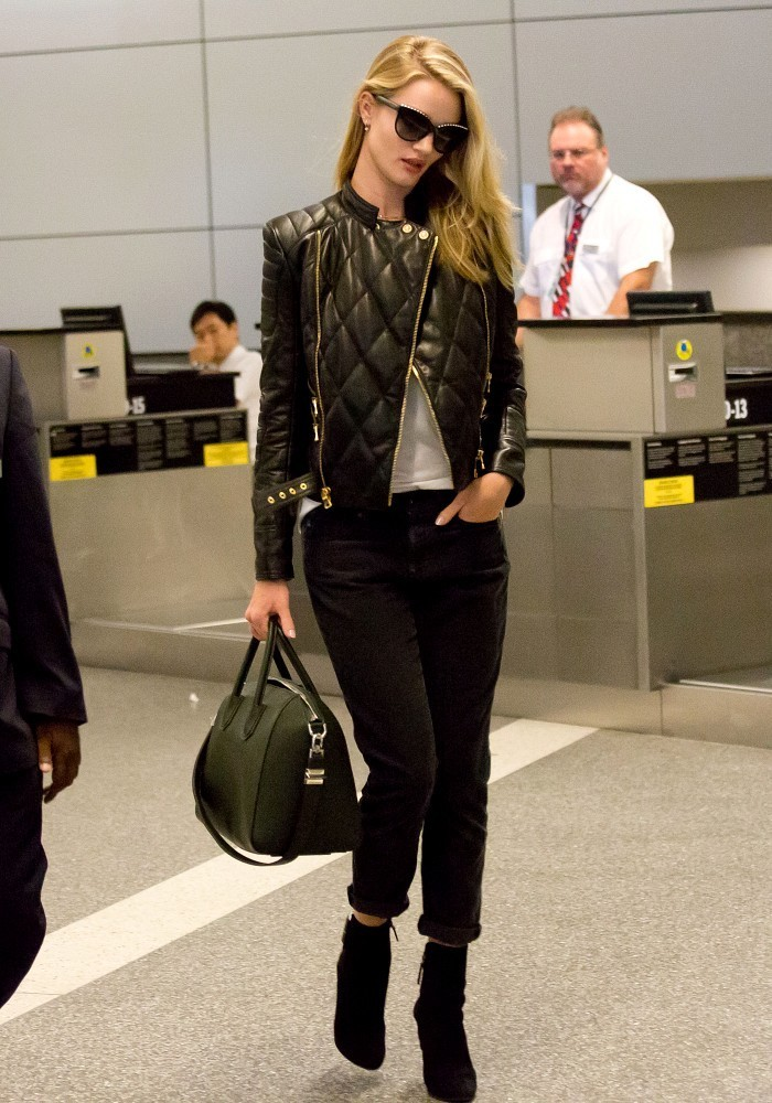 Rosie Huntington Whiteley's leatherclad arrival