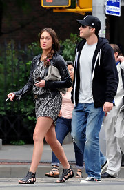 The fashion maven walked through the West Village sporting a pair of silver studded, black leather, gladiator sandals.