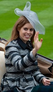 Princess Beatrice wore a powder blue abstract topper to the Royal Ascot's Opening Day.