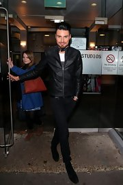 Rylan Clark chose a sleek and cool leather jacket for his look while filming 'Celebrity Justice.'