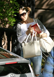 Sarah Jessica Parker ran errands carrying a textured white leather tote.