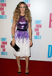 SJP shined at the 'I Don't Know How She Does It' premiere in a purple Prabal Gurung frock. She topped off her look with black peep-toe pumps, complete with subtle ankle straps.