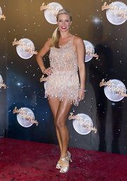 Denise van Outen showed some skin with a bead-fringed mini dress at the launch of 'Strictly Come Dancing.'
