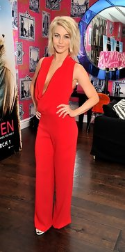 Julianne rocked a fiery red jumpsuit with a beautifully draped open neckline in London.