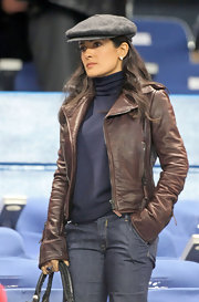 Salma looks adorable in her beret.
