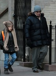 Matthew Broderick kept out the cold NYC air with a huge puffer jacket.