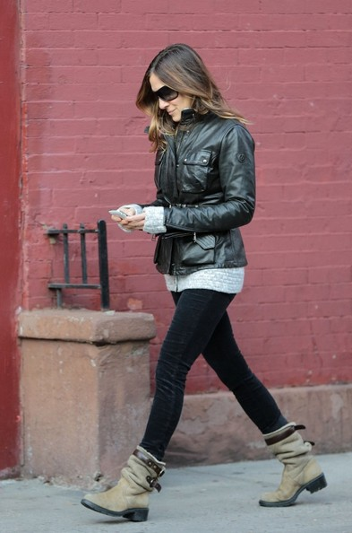 More Pics of Sarah Jessica Parker Leather Jacket (1 of 30) - Leather Jacket Lookbook - StyleBistro