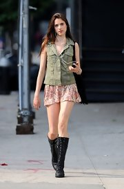 Sarah Margaret Qualley was looking like one tough lady in these knee-high combat boots.