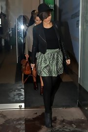Frankie Sandford chose a green and striped mini for her casual look at the BBC studios.