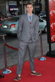 Michael Cera showed off his cool grey suit while hitting the red carpet.
