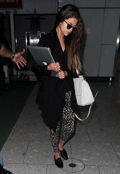 Selena Gomez in printed pants.