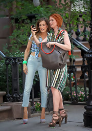 "While on set of the eagerly anticipated ""Sex In The City 2"", Cynthia Nixon rocks a pair of the years hottest shoe trend, studded platform heels."