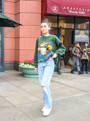 Madison Beer kept it super relaxed in a green Harley Davidson sweatshirt while out in LA.