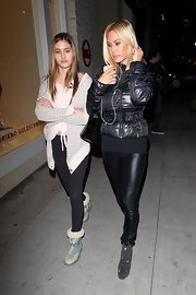 Shauna Sand went shopping in Beverly Hills looking edgy-chic in black leather skinnies and a puffer jacket.