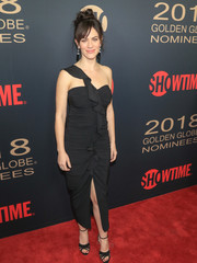 Maggie Siff looked alluring in a ruched and ruffled one-shoulder LBD at the Showtime Golden Globe nominees celebration.