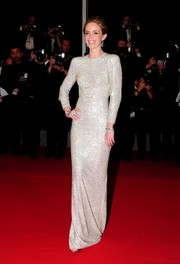 Emily Blunt was a style standout in a studded column dress by Stella McCartney during the 'Sicario' premiere in Cannes.