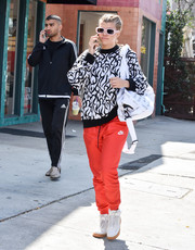 Sofia Richie looked vibrant in a black-and-white swirl-patterned sweater while out shopping.