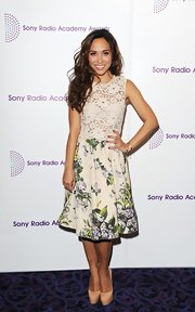 Myleene Klass chose a romantic and feminine look at the Sony Radio Academy Awards when she wore this floral and lace frock.