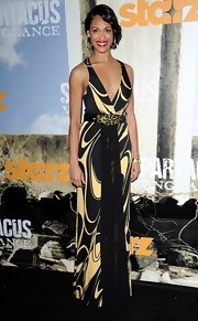 Cynthia Addai-Robinson wore a black and yellow print evening dress for the 'Spartacus Vengeance' premiere.