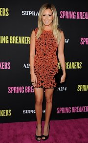 Ashley Tisdale opted for cool mosaic dress for her modern and abstract look at the 'Spring Breakers' premiere.