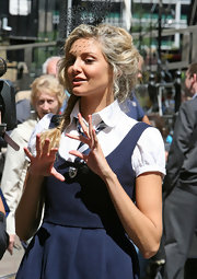 Tamsin Egerton wore a net fascinator at the filming of 'St. Trinian.'