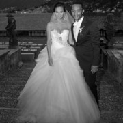 Chrissy Teigen looked absolutely gorgeous in her strapless Vera Wang wedding dress.