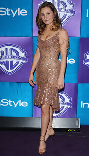 Beverly Mitchell teamed up her sequined dress with a pair of gold strappy sandals at the Golden Globe party.