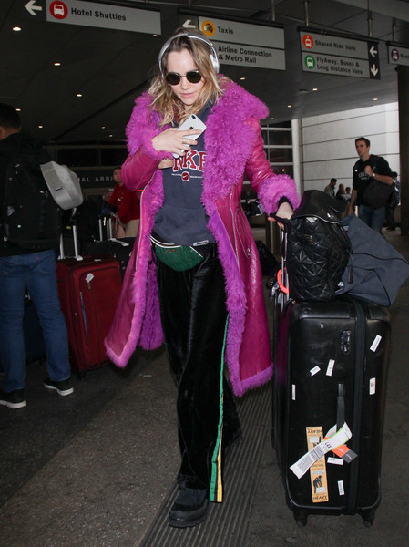 Suki Waterhouse Leather Coat