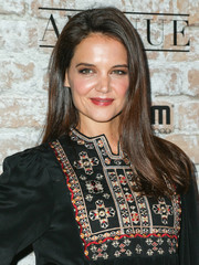 Katie Holmes topped off her look with glossy straight tresses when she attended the TAO, Beauty & Essex, Avenue and Luchini LA grand opening.