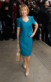 This tailored teal blue dress was a ladylike choice for Sian Williams at the 2012 TRIC Awards in London.