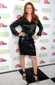 Angie wore a silky black button-down with a sequined skirt for the 'Take Me Home Tonight' premiere.