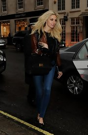 Tamsin Egerton rocked a two-toned brown and black leather jacket while out in London.